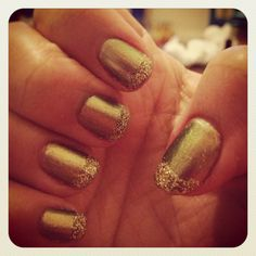 Khaki Polish With Gold Glitter Tips