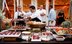 Culinary Crafts @ louland falls Love the idea of bringing the bistro lights indoors & this food display! Catering Food Displays, Art Catering, Catering Ideas, Catering Events, Wedding Catering, Heavy Hors D'oeuvres, Fruit Buffet, Reception Food, Food Stations