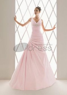 Taffeta V-neck A-line Gown with Beaded Embellishment Style - Bridal Gowns - goodcheapweddingdress Pink Wedding Gowns, Colored Wedding Dresses, Dream Wedding Dresses, Bridal Gowns, Lace Wedding, Prom Dresses, A Line Gown, Bustier, Pink Fashion