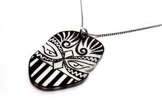 African Mask Pendant  | Get it on: http://www.punktrunk.com/shop/african-mask-pendant/ #Jewelry #Jewelries #Punk #Necklace #Pendant #Fashion #Girls #Unique #DIY #Crafts #Art #Design #ShrinkPlastic #Handmade #Plastic #Rock #Special #African #Tribal #Geometric #Mask #Ink