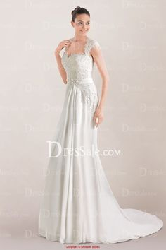 Divine Chiffon A-line Wedding Dress Highlighted with Lace Applique and Open Back