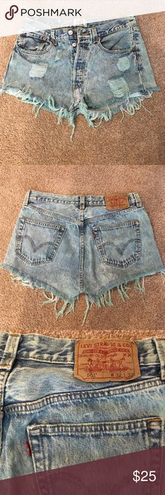 Urban Outfitter high wasted shorts GREAT CONDITION Urban Outfitter high wasted Levi brand Jean shorts, they are a cool greenish tint! Urban Outfitters Shorts Jean Shorts