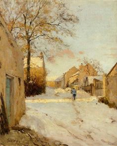 Alfred Sisley A Village Street in Winter painting for sale - Alfred Sisley A Village Street in Winter is handmade art reproduction; You can shop Alfred Sisley A Village Street in Winter painting on canvas or frame. Claude Monet, Winter Landscape, Landscape Art, Landscape Paintings, Oil Paintings, Indian Paintings, Watercolor Landscape, Abstract Paintings, Contemporary Paintings