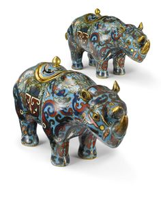 A PAIR OF CHINESE CLOISONNE RHINOCEROS-FORM CONTAINERS AND COVERS QING DYNASTY, 19TH/20TH CENTURY - Sotheby's