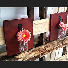 Hanging Wood Sign With Mason Jar Hanging Wood Decor by KaysDekor