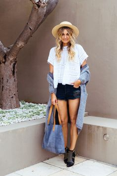 bohemian top, black cutoffs, embellished leather booties & long grey cardigan