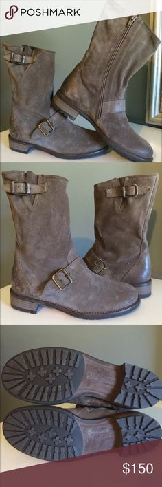 """Paul Green Adison MOTO Biker Boots size 6 Brand: Paul Green  Paul Green Adison Ally brown suede leather belted buckle moto biker boots women Retails $455  gorgeous boots! very desirable and sold out...unavailable in retail!   Size: UK 3.5 approx usa size 6 measurements  Material: suede and manmade  Made in: Austria   measurements  width: 3.5"""" approx across widest part of sole  insole: 9"""" approx  height of boots: 10"""" approx  circumference around top of boots: 15"""" approx  heel: 1.25"""" approx…"""