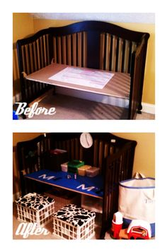 Upcycle a drop-side crib (no longer safe for little ones!) into a kid's desk...I might have placed the table at the higher level so it could be used into the school years as well.
