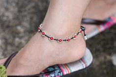 ♥100 % HAND WOVEN IN THAILAND This is hand woven anklet made with black cotton waxed cord weaved together with coral bead and silver plated beads . Closure using silver plated bell ♥ Anklet measures 10 inch long ♥♥You can see similar items by clicking this link♥♥ Silver Anklets, Beaded Anklets, Woven Bracelets, Ankle Bracelets, Cheap Accessories, Fashion Accessories, Fashion Jewelry, Anklet Designs, Ankle Jewelry