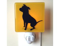 Dog Night Light - Hand Painted Glass - Pit Bull Gift on Etsy, $28.00