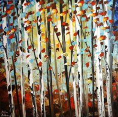 Birch trees painting