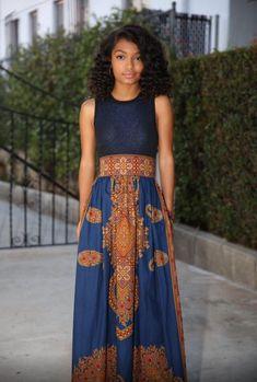 Yara Shahidi wearing  African print fashion Maxi skirt Shopmelangemode.com