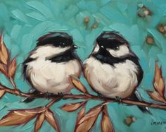 Chickadee and Floral painting, Original impressionistic oil painting of two chickadees on a floral branch. Bird Painting Acrylic, Oil Painting On Canvas, Painting & Drawing, Watercolor Paintings, Original Paintings, Original Art, Canvas Art, Hummingbird Painting, Bird Paintings