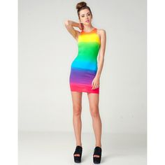 Motel New Zoe Bodycon Dress in Rainbow Fade ❤ liked on Polyvore
