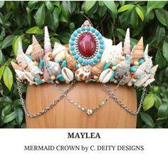 Mermaid Crown, Festival Crown, Bohemian Beach Bride Shell Crown ~ MAYLEA  #festivalcrown