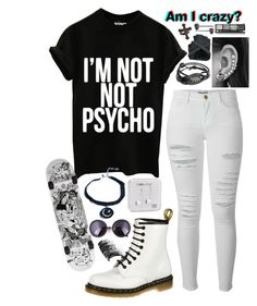 """""""She's an American Beauty, I'm an American Psycho ~"""" by style-and-chic-boutique ❤ liked on Polyvore featuring Frame Denim, Dr. Martens, claire's, Happy Plugs, KATIE Design and Yves Saint Laurent"""