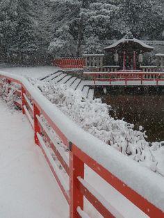 Shimogamo shrine in snow, Kyoto, Japan