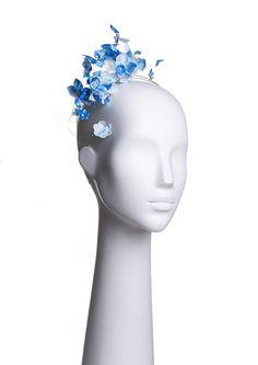 Diadema azul hecha con porcelana rusa. Blue headband. Russian porcelain