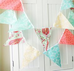 9 Feet Fabric Party Banner, Bunting, 21 Pennant Flags, Cottage Pastels, Yellow, Coral, Aqua, Mint Green, Birthday, Wedding, Photo Prop