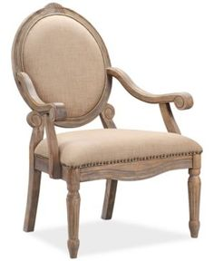 Rosalyn Fabric Oval Back Accent Chair, Quick Ship - Tan/Beige
