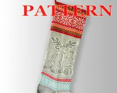 Etsy :: Your place to buy and sell all things handmade Knitted Christmas Stocking Patterns, Knitted Christmas Stockings, Knit Stockings, Christmas Knitting, Santa Stocking, Patterned Socks, Fair Isle Knitting, Christmas Deer, Scandinavian Christmas