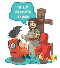 Camiseta crente, com estampa evangélica de humor geek, nerd e nostalgia. Goku e chapolin. Presente pra Crente.