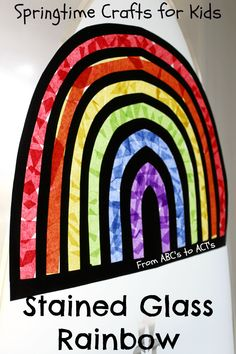 Stained Glass Rainbow Craft for Kids by Amber Mathison on From ABCs to ACTs Welcome spring in this year with a bright and colorful stained glass rainbow craft for kids that's easy to make and will brighten any dreary winter mood.