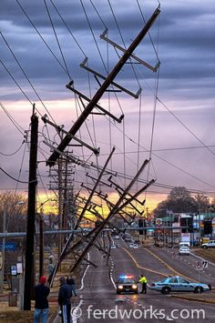Power-line poles snapped from the 2010 New Years Eve tornado in Crestwood, Missouri