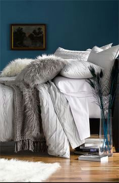 Grey and white bedding