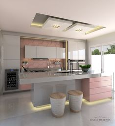 Cozinha cinza e rosa! 📐Autoria do Projeto: Dileia Bezerra ➡️Sigam também: Home Decor Kitchen, Kitchen Interior, Home Interior Design, Interior Decorating, Küchen Design, House Design, Kitchen Models, Modern Kitchen Design, Home Living