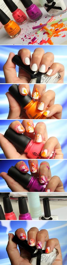 Spletter nails - Tutorial on http://blogg.veckorevyn.com/hiilen/2012/08/11/splatter-nails-tutorial/