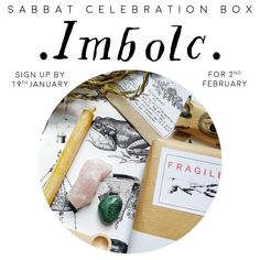 IMBOLC Sabbat Witch Box Kit Guide Celebration supplies Vegan subscription uk witchy spring gift mystery vegan festival ships 22nd January Celebration Box, Halloween Celebration, Sabbats, Halloween Signs, Winter Solstice, Subscription Boxes, Samhain, Yule, Vintage Items