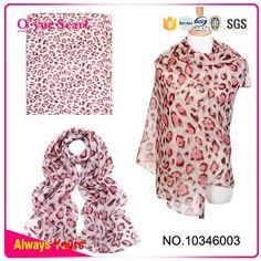 New Arrival 100% Chiffon Leopard Print Scarves