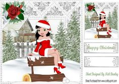 Posing for the camera in santa suit in snow scene 8x8 on Craftsuprint - Add To Basket!