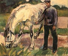 Man with a white horse by Edvard Munch 1917