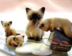 Spilled milk Vintage Siamese cat & kittens bone by OldeTymeNotions