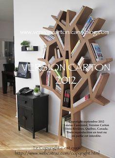 Arbre-cd-dvd-livres-carton-meuble-version carton-bibliothèque-étagère-mobilier-SIGNÉ-avec