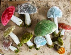 Hand Dyed Silk Velvet - Handmade Woodland Forest Mushrooms #WoodlandChristmas