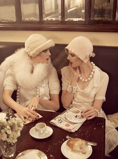 luv this pic. Looking devine, string of pearls, juicy discussion and tea with a BFF. The best!