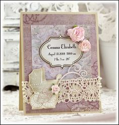 Dietrich Designs - a Custom Creation for a baby girl, featuring lace, pink roses, swirls, and a carriage stamp by Unity.