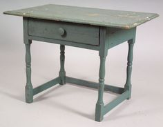 Painted Pine Stretcher-Based Table, 18th century, the top overhangs a single drawer flanked by block and ring-turned legs joined by three square stretchers, later blue paint and drawer pull, (imperfections), ht. 25 1/2, wd. 36, dp. 21 3/4 in.
