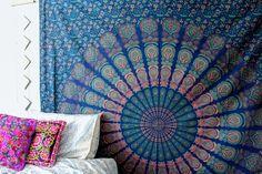 ☽ ✧ luna blue * mandala tapestry // gold diamond perspective wall hanging b Mandalas Painting, Mandalas Drawing, Cool Wall Art, Colorful Wall Art, Mandala Tapestry, Tapestry Gold, Hippy Room, Indian Tapestry, My New Room