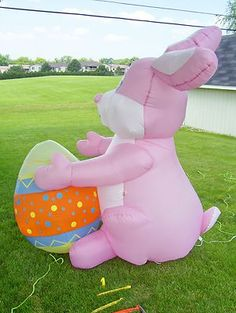 GEMMY 8' TALL EASTER EGG LIGHTED BUNNY AIRBLOWN INFLATABLE YARD DECORATION on eBay!