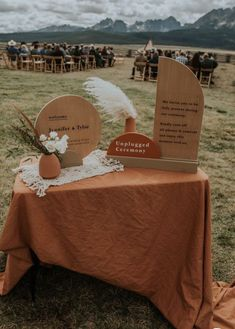 Earthy color palette with modern wood shapes for unplugged ceremony. Wedding Goals, Boho Wedding, Fall Wedding, Wedding Planning, Dream Wedding, Party Decoration, Wedding Decorations, Food Decorations, Wedding Welcome Table