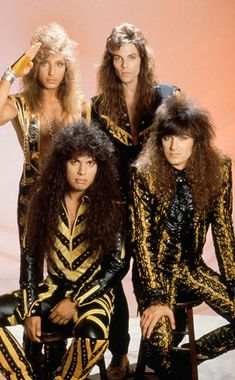 This is one of my fave bands, Stryper... Back: Robert Sweet (Drummer) & Timothy Gaines (Bass Guitar) Front: Oz Fox (Lead Guitar) & Michael Sweet (Lead Singer & Lead Guitar)