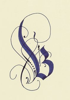 ✍ Sensual Calligraphy Scripts ✍ initials, typography styles and calligraphic art - capital B