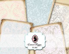 BAROQUE OLD PAPER Digital Collage Sheet Set of 8 by cameoshoppe, $4.50