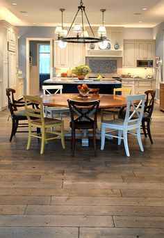 Love the assorted chairs and this wood flooring. Private Residences modern wood flooring