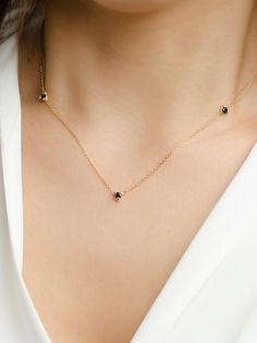 Dainty Black Zircon Necklace, Sterling Silver & Gold Plated, Simple Minimal Necklace, Everyday Necklace, Layering Necklace, NC002