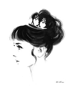Audrey Hepburn Profile - Black and White Ink drawing. $20.00, via Etsy.